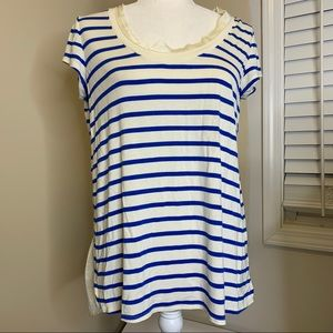 Striped scoop neck blouse small